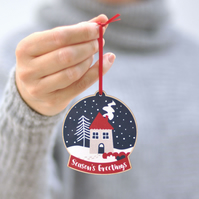 Scandinavian Christmas Tree Decoration - snow globe - wood decoration