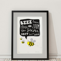 Bee screen print - modern childrens decor - limited edition print