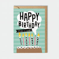 Birthday card - make a wish - for him - for her - birthday cake