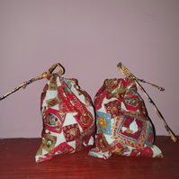 5 Geese Red & Gold Christmas Favour Bags with Red Ties