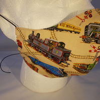 Shaped Adult Face Covering - Trains