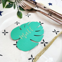 Botanical Leaf Place Card with Handwritten Calligraphy for Events and Weddings