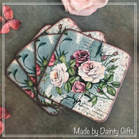Set of 4 vintage looking coasters, Decoupage coasters, Rose Coasters
