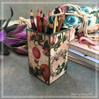 Hot air balloon Pencil Holder - Decoupage pencil holder, Handmade desk Tidy