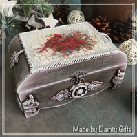 Wooden Jewellery box, Christmas Themed