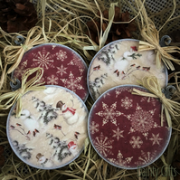 Wooden Bauble Christmas ornaments, 4 Rustic Decoupage Baubles
