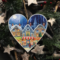 15cm Christmas Hanging Heart Decoration