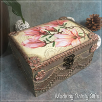 Decoupage Wooden Jewellery box Magnolia Design