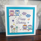 "A  Cute Square 7"" Birthday Card with Owls on Branches"