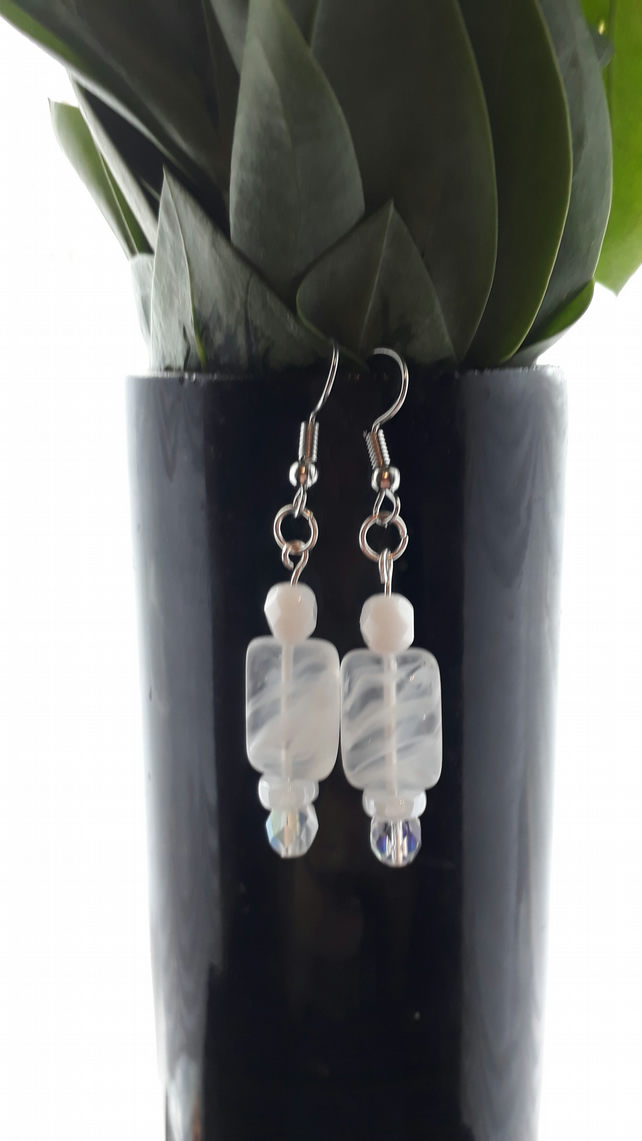 Handmade precosia glass beaded white swirl and clear earrings - silver plated