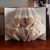 Folded book art, initials with date