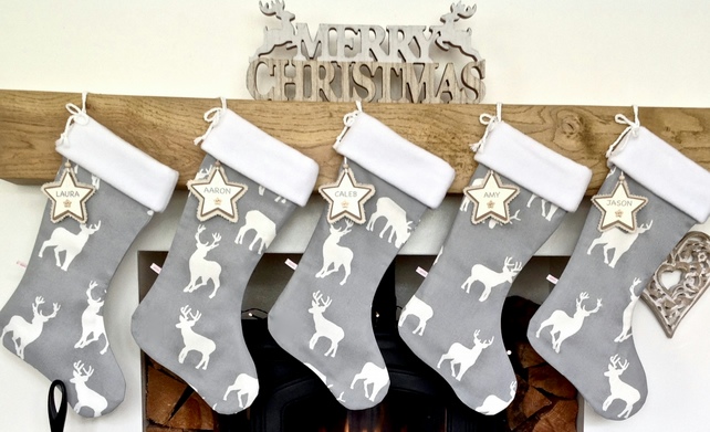 Stag Christmas Stocking with Free Name Tag