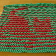 Playful Kitty Dishcloth in Illusion Knitting