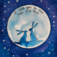 I love you to the Moon and back - Romantic Hares Original watercolour