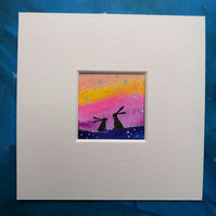 Hare Silhouette - Time with you - Original Mini Watercolour painting