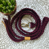 Braided dog lead- Mulberry