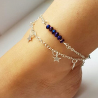 Silver Multi Stranded Fully Adjustable Stars & Beaded Ankle Bracelet