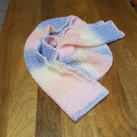 Soft Blue, White and Pink Handmade Crochet Scarf