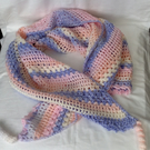 Shawl - Triangle Shape - With Tassels - Soft Pink, Blue Colour