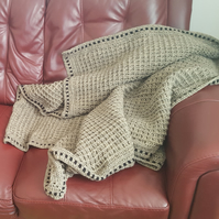 "Handmade crochet Waffles style blanket 60"" by 46"" golden brown colour...."