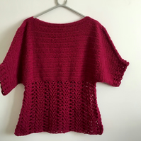Lacey boat neck style blouse, maroon colour, size12, short sleeve.