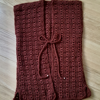 Handmade crochet sleeveless duster brown cardigan. UK size small to medium.