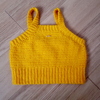 Handmade crochet yellow crop top with 3 beads in front. UK size small.