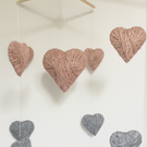 Baby Nursery Mobile with Pink and Grey Hearts