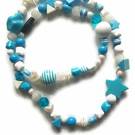 Nursing Breastfeeding Fiddle feeding Necklace SKYBLUE Design Baby Mother Bead