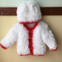 White with Red Trim Christmas Jacket n Hat