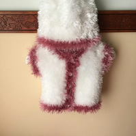 White Furry Body warmer n Hat with Rose Pink Trimming
