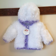 Stunning White with lilac trimmings Furry Jacket n Hat