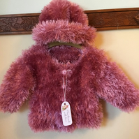Rose Pink  Furry Eyelash Jacket n Hat