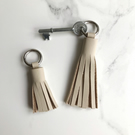 Cream Leather Tassel Keychain