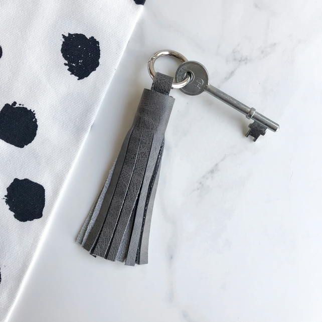 Grey Leather Tassel Keychain