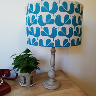 Handmade 40cm Rachel Powell Woodstock 100% Irish linen birds lampshade
