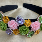 Multi Coloured Green and Pink Rose Gem on thick black Headband
