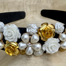 Gold and White Rose with faux flower pearls on black Headband