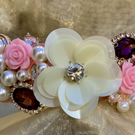 White Flower Faux Pearl Gem Pink Rose Headband