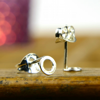 Tiny silver circle earrings