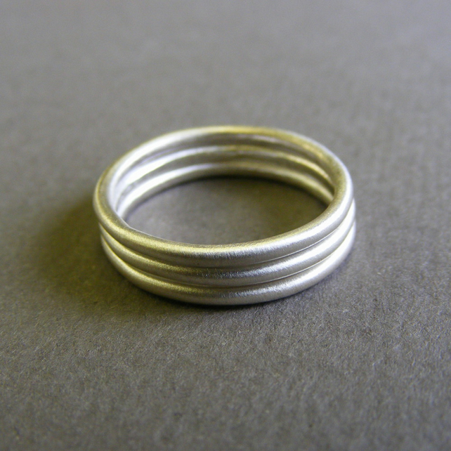 sterling silver stacking rings satin texture folksy