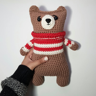 Adorable Crocheted Amigurumi Bear with Customisable Options (Made to Order)