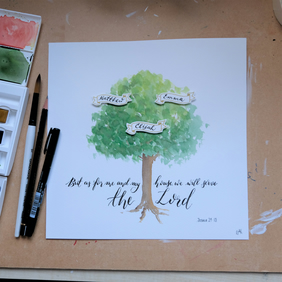 Family Tree - Watercolour personalised family tree