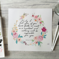Faith like a mustard seed - Matt 17:20 - Original Floral Watercolour