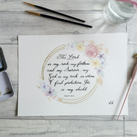 Psalm 18:2 - My fortress - Original Watercolour floral