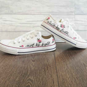 Walk by faith - 1 Corinthians 5:7 - Customised Canvas Trainers