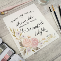 Psalm 94:19 - Your comfort delights me - Original Watercolour floral painting