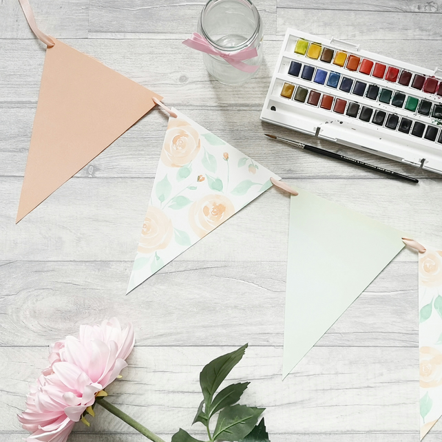 Peach Roses - Watercolour Floral Bunting