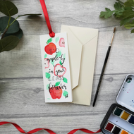 Apple for the teacher - original watercolour Bookmark Card
