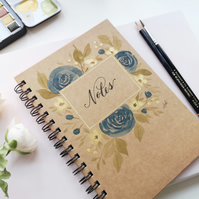 Loose Roses and florals - Hand painted watercolour lined A5 lined notebook